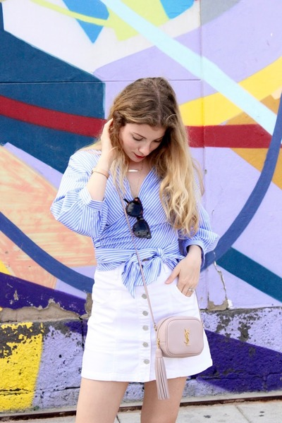 light pink YSL purse - sky blue Zara blouse - white Stradivarius skirt