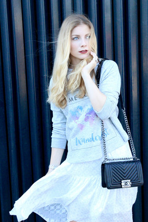 black Chanel purse - white Zara dress - silver Mencanta sweatshirt