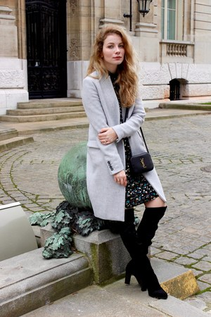 black Sante shoes boots - black Zara dress - silver Stradivarius coat