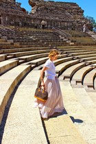 white Zara shirt - brown Louis Vuitton purse - eggshell Zara skirt