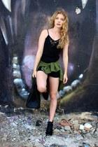 black Jeffrey Campbell boots - olive green H&M jacket - black Hermes purse