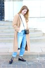 Camel-sheinside-coat-light-blue-h-m-jeans-black-forever-21-leggings