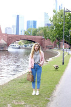 light blue pull&bear jeans - light pink pull&bear jacket