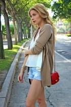 heather gray Aldo boots - camel Mango sweater - red purificación garcía purse