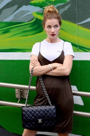 black Chanel purse - army green H&M dress - white asos t-shirt