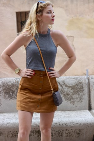 brown Louis Vuitton purse - heather gray Zara top - burnt orange H&M skirt