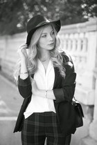 black H&M hat - black H&M blazer - black Chanel purse - white H&M blouse