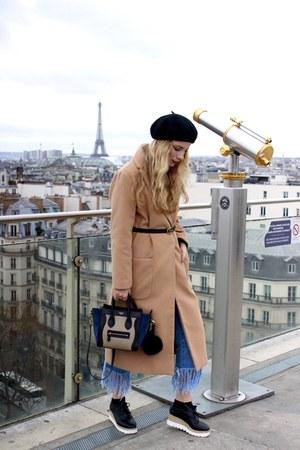 black Sheinside shoes - camel Sheinside coat - light blue Forever 21 jeans