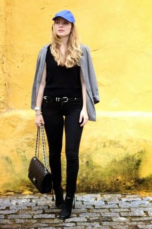 black Aldo boots - blue Primark hat - heather gray H&M blazer