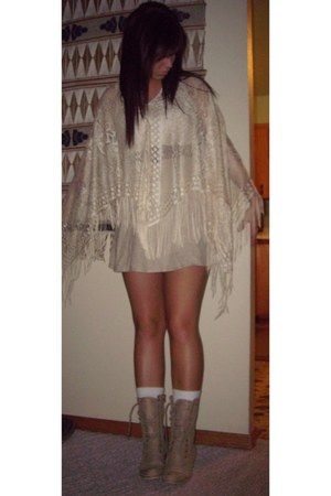 tan dress - tan boots - white white tights - cream lace shall blouse