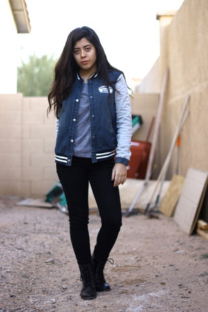 combat boots Forever 21 boots - Forever 21 jeans - denim Forever 21 jacket