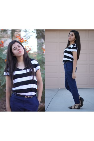 white striped Forever 21 shirt - navy Forever 21 pants - black Forever 21 belt