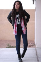 hot pink plaid Forever21 blouse - black combat Forever 21 boots