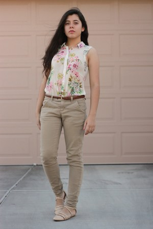light pink H&M shirt - off white Forever 21 sandals - tan Forever 21 pants