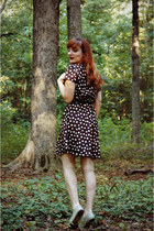 black tree print Charlotte Russe dress - eggshell oxford Ruche shoes