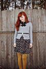Black-charlotte-russe-dress-mustard-mossimo-tights-black-vintage-belt