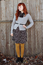 mustard Mossimo tights - black Charlotte Russe dress - black vintage belt