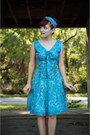 Teal-chambray-modcloth-scarf-turquoise-blue-floral-vintage-dress