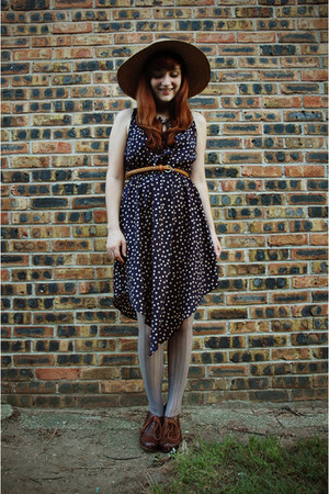 polka dot Sugarlips dress - vintage hat - Target tights