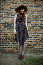 polka dot Sugarlips dress - vintage hat - Target tights