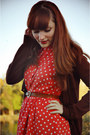 Bronze-vintage-belt-coral-polka-dot-forever-21-dress