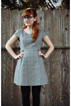black thrifted glasses - silver Charlotte Russe dress - black thrifted tights