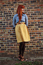 Mustard-thrifted-skirt-dark-brown-tights-tawny-thrifted-belt