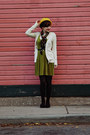 Black-thrifted-shoes-olive-green-velvet-vintage-dress-gold-beret-target-hat