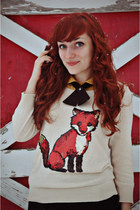 cream sequined fox Cooperative sweater - tawny oxford modcloth boots