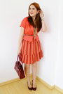 Orange-striped-forever21-dress-orange-blazer-ruby-red-liz-claiborne-purse