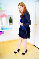 navy Forever 21 jacket - black Kaelyn-Max dress - black unique heel posh heels