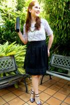 black bow clutch purse - black waist skirt Picnic USA skirt - silver Zara heels