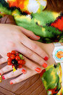 Red-fruit-ring-ring-chartreuse-alfani-dress-brown-clutch-via-vai-bag