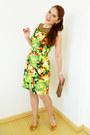 Chartreuse-alfani-dress-brown-clutch-via-vai-bag