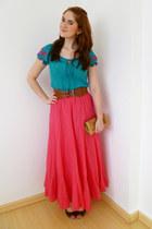 hot pink maxi skirt Zara skirt - cream crocodile Angela Gutierrez purse
