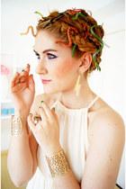 gold cuff bracelet Forever 21 bracelet - off white maxi dress OASAP dress