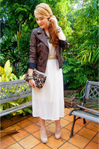 dark brown Zara jacket - white maxi dress OASAP dress