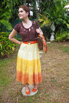 brown top - yellow skirt - orange Ralph Lauren shoes - orange belt - brown purse