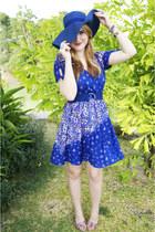 blue floral Forever 21 dress - blue beach hat hat