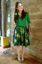 green 50s Bernie Dexter dress - camel clutch asos purse - green cardigan