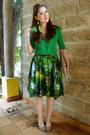 Green-50s-bernie-dexter-dress-camel-clutch-asos-purse-green-cardigan