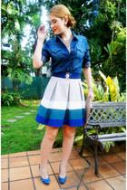 beige Zara skirt - navy denim shirt Jonathan Z shirt - camel clutch asos bag