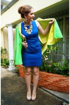 blue shift dress Kenneth Cole dress - eggshell clutch asos bag