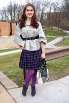 gray XDYE jacket - purple Dazz skirt - purple tights - black Fioni boots - black