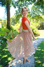 Orange-chiffon-forever-21-skirt-orange-v-neck-forever-21-t-shirt