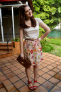 Dark-brown-clutch-urban-expressions-purse-light-yellow-floral-print-dmbm-skirt
