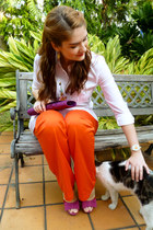 carrot orange Sculpture pants - magenta purse
