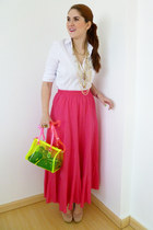 yellow neon bag Forever 21 bag - hot pink maxi skirt Zara skirt