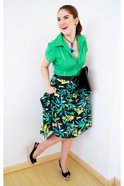 black clutch asos bag - black midi skirt skirt - black Nine West belt
