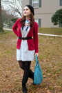 Gray-pink-rose-dress-red-merona-cardigan-black-zara-hat-black-skechers-boo